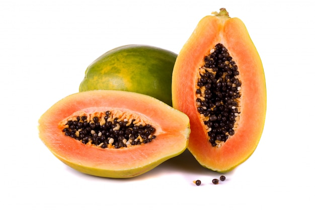 Papaya fruit on white Premium Photo