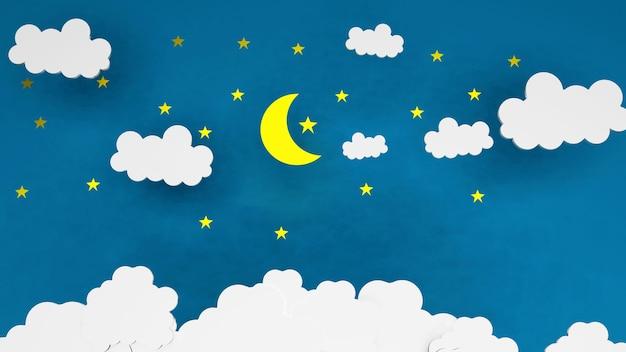 ペーパーアートおやすみと甘い夢の星と夜空の夜のコンセプトと白い雲と青い背景の星と折り紙折り紙黄色い月 Premium写真