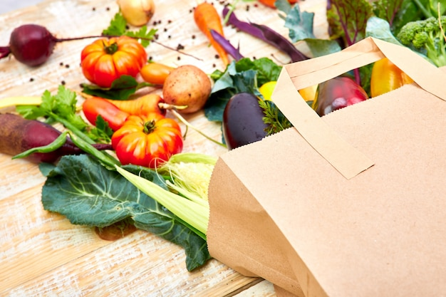 Paper bag of different health vegetables food Premium Photo