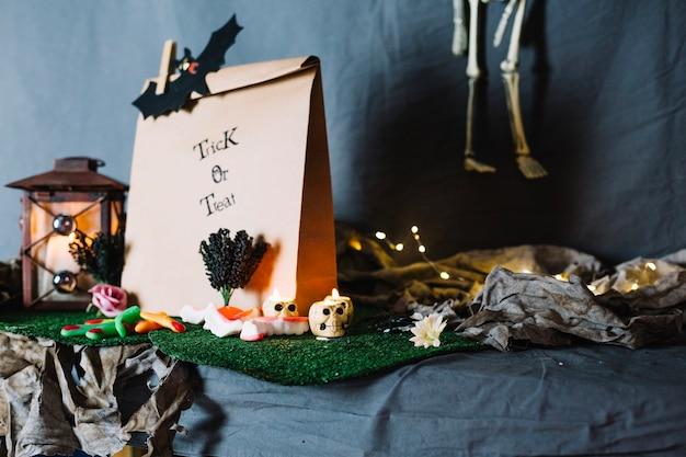 Paper bag and halloween stuff Free Photo