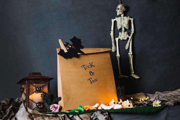 Paper bag and skeleton Free Photo