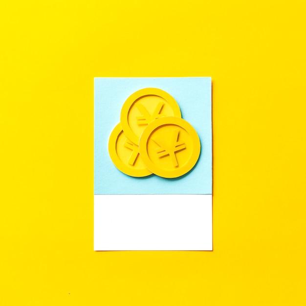 Paper craft art of japanese yen coins Free Photo