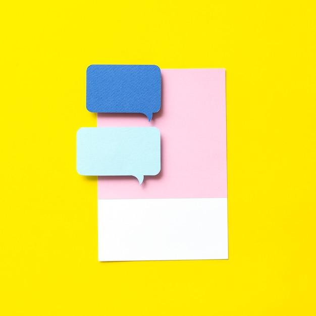 Paper craft art of speech bubble icon Premium Photo