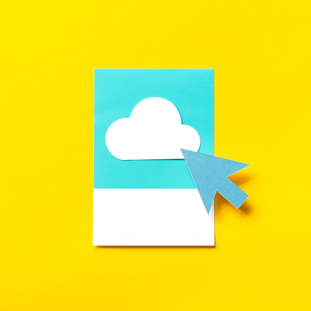 Paper craft art of transfer to cloud Premium Photo