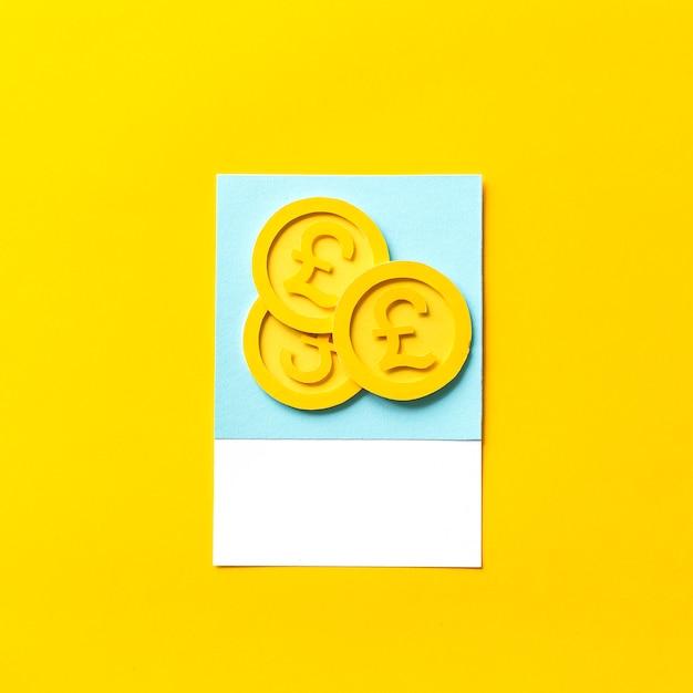 Paper craft art of uk pound coins Premium Photo