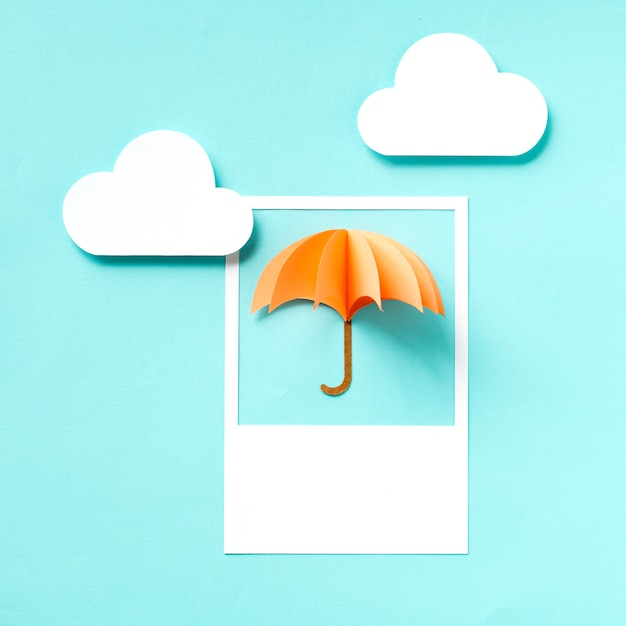 Paper craft art of an umbrella Premium Photo