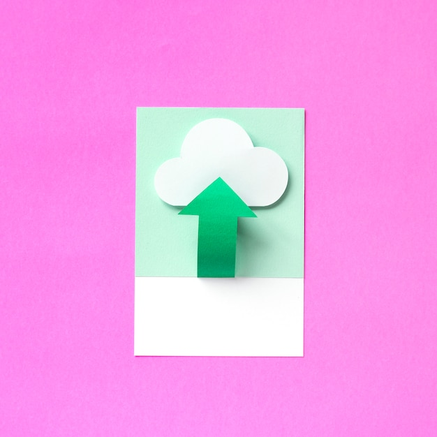 Paper craft art of uploading to cloud Free Photo