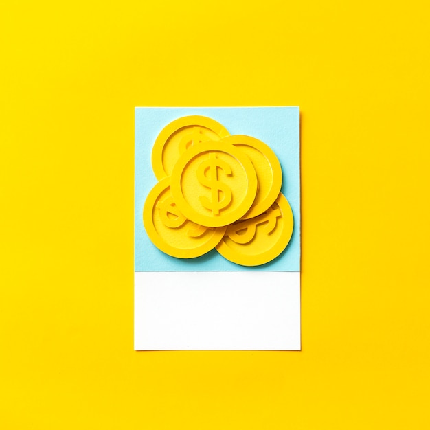 Paper craft art of us dollar coins Free Photo