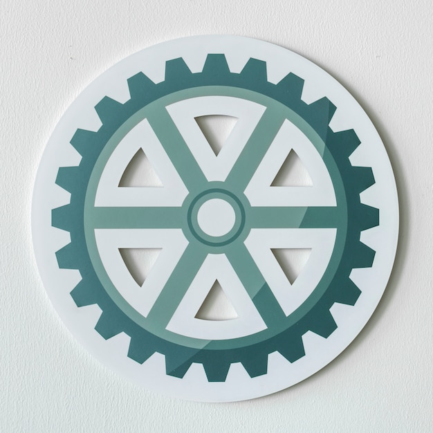 Paper craft of cog wheel icon Free Photo