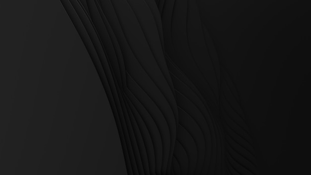 ペーパーカットの抽象的な背景。 3dクリーンダークカービングアート。ペーパークラフトの黒い波。ビジネスプレゼンテーションのためのミニマルでモダンなデザイン。 無料写真
