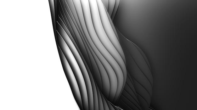 종이 잘라 추상 단색 배경. 3d 깨끗한 어두운 조각 예술. 종이 공예 검은 파도. 비즈니스 프레젠테이션을위한 최소한의 현대적인 디자인. 무료 사진
