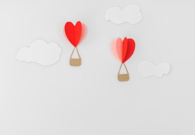 발렌타인 Celebrat에 대 한 심장 뜨거운 공기 풍선의 종이 잘라 무료 사진