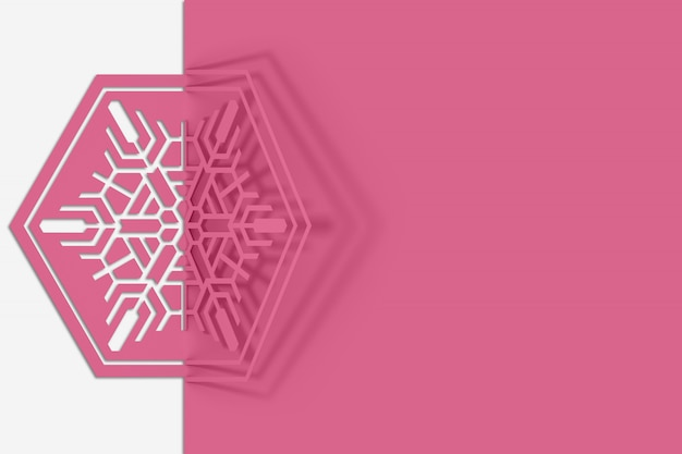 Paper cut snowflake bent in half on a sheet. christmas card Premium Photo