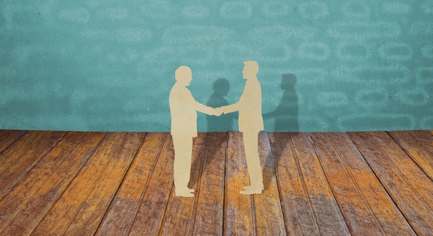 Paper cut of two business man shake hand Free Photo