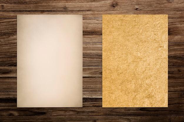 Paper mockup set on wood background Free Photo