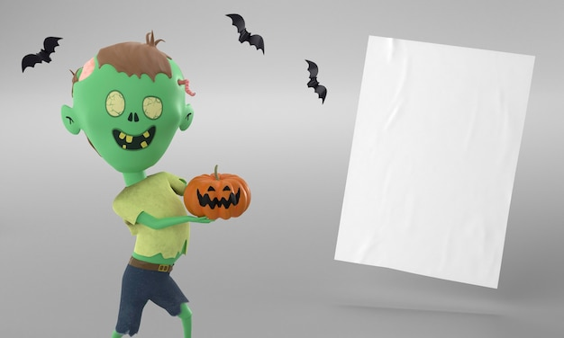 Paper page with hulk decoration and pumpkin for halloween Free Photo