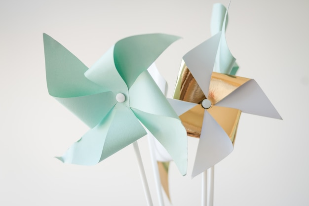 Paper pinwheel. decorative accessories for holiday, children's birthday parties. Premium Photo