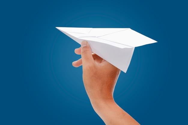 Paper plane in hand Premium Photo