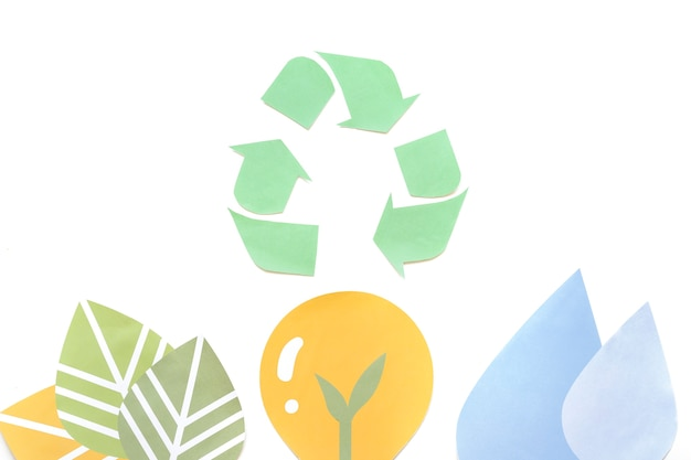 Paper recycle symbol with ecology figures Free Photo