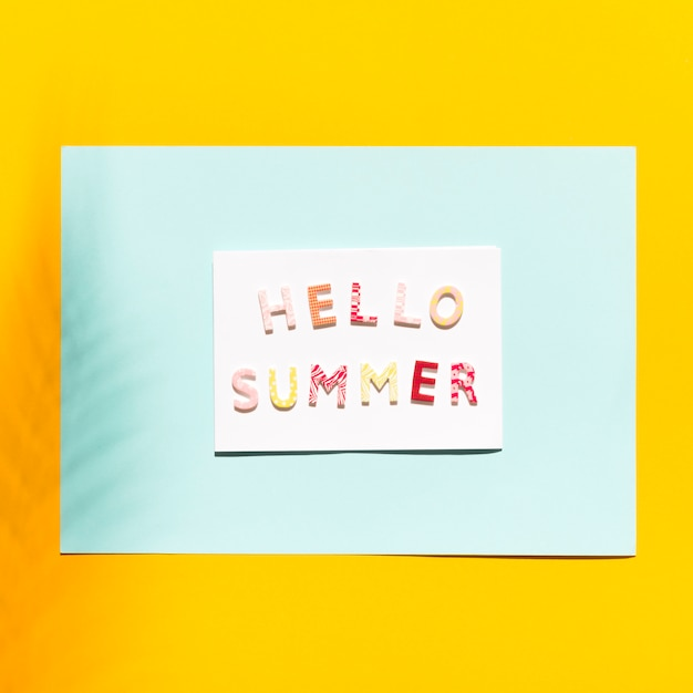 Paper with inscription on hello summer Free Photo