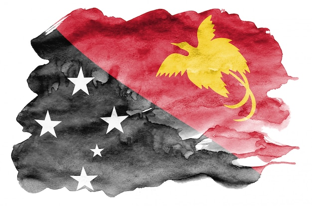 Papua new guinea flag  is depicted in liquid watercolor style isolated on white Premium Photo