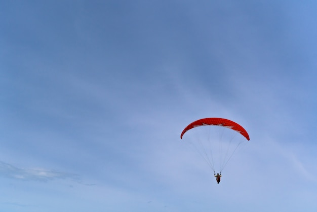 Paraglider on a red paraglider flying over the sea Premium Photo