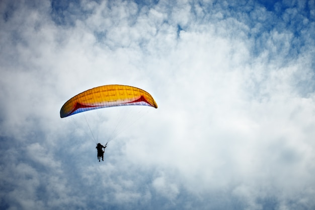 Paragliding along beautiful coastline. Premium Photo
