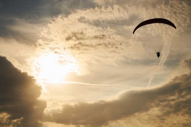 Paragliding at sunset Premium Photo