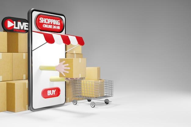 소포와 쇼핑 카트. 스마트 폰 24 시간 온라인 쇼핑 스토어, 3d 렌더링 프리미엄 사진