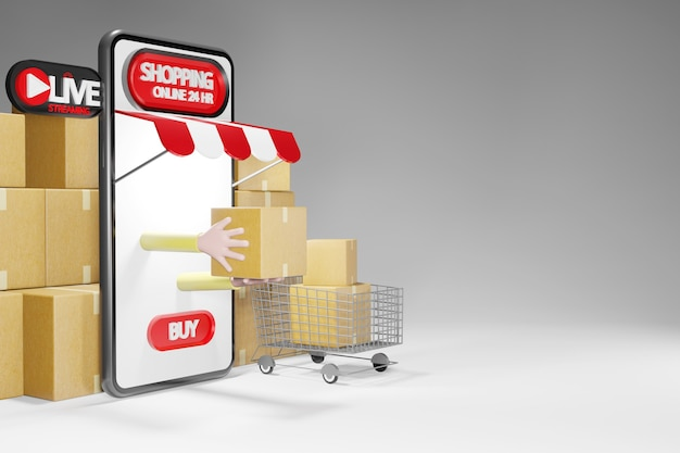 Parcel and a shopping cart. online shopping store on smartphone 24hr, 3d rendering Premium Photo