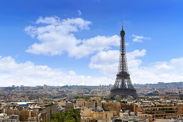Paris eiffel tower and skyline aerial france Premium Photo