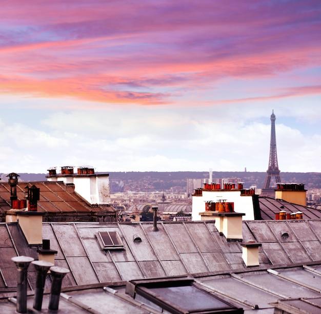 Paris skyline aerial from montmartre Premium Photo