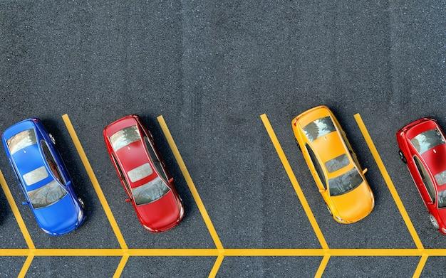 Припаркованные машины на стоянке. одно место бесплатно Premium Фотографии