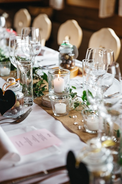 Part of decorated table for guests close up Free Photo