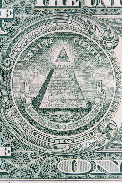 Part of one dollar note with great seal. eye of providence in the banknote of one dollar. Premium Photo