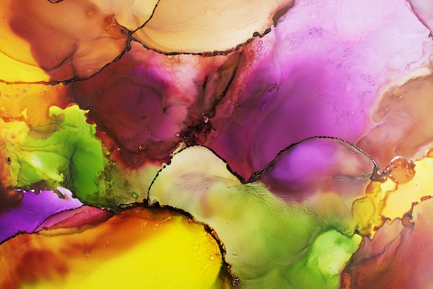 Part of original alcohol ink painting, macro photo Premium Photo