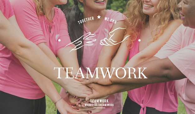 Partnership team support togetherness cooperation hands graphic Free Photo