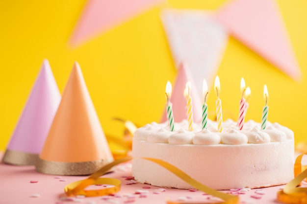 Party birthday background with cake Premium Photo