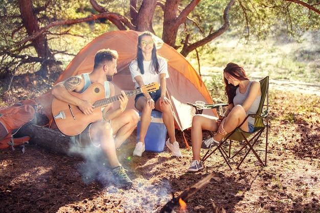 Partito, campeggio del gruppo di uomini e donne nella foresta Foto Gratuite