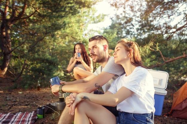 Вечеринка, кемпинг группы мужчин и женщин в лесу. они отдыхают Бесплатные Фотографии