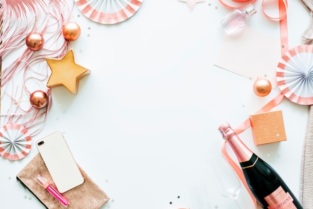 Party items on white background with design space Premium Photo