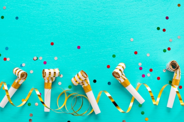 Party whistles with copy space Free Photo
