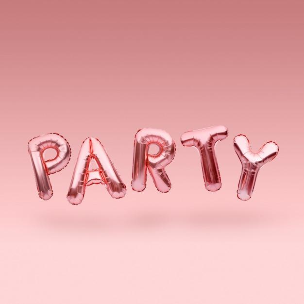 Розовое золотое слово party из надувных шаров, плавающих на розовом фоне. розовое золото фольгированный шар буквы. концепция праздника. Premium Фотографии