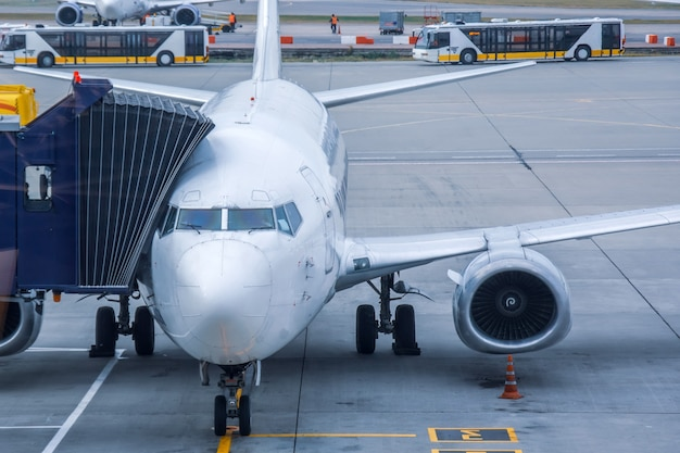 Passenger aircraft, waiting parked at the airport before serving the flight. Premium Photo