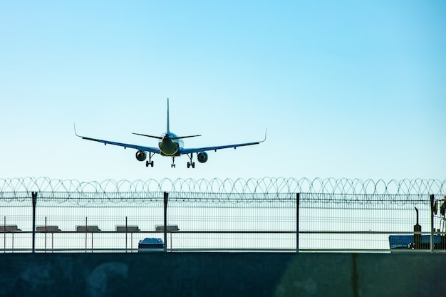 Passenger plane flying in the blue sky goes on takeoff Premium Photo