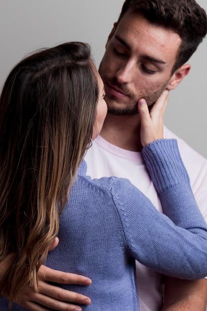 Passionate beautiful couple kissing Free Photo