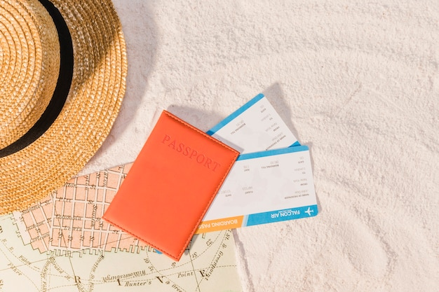 Passport and guide book for next trip Free Photo
