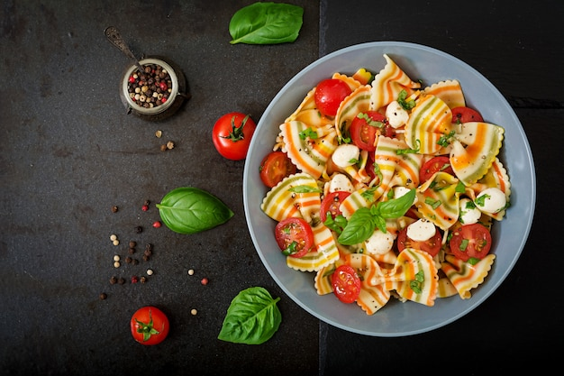 Pasta colored farfalle salad with tomatoes, mozzarella and basil. Free Photo