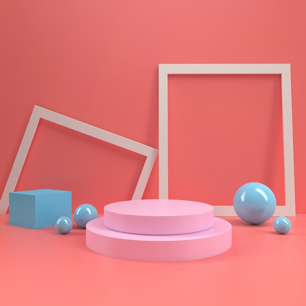 Pastel booth podium circle stage display table template mock up minimal wood wall composition 3d rendering Premium Photo