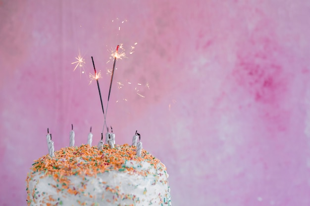 Pastel Color Birthday Cake With Sparkler Photo